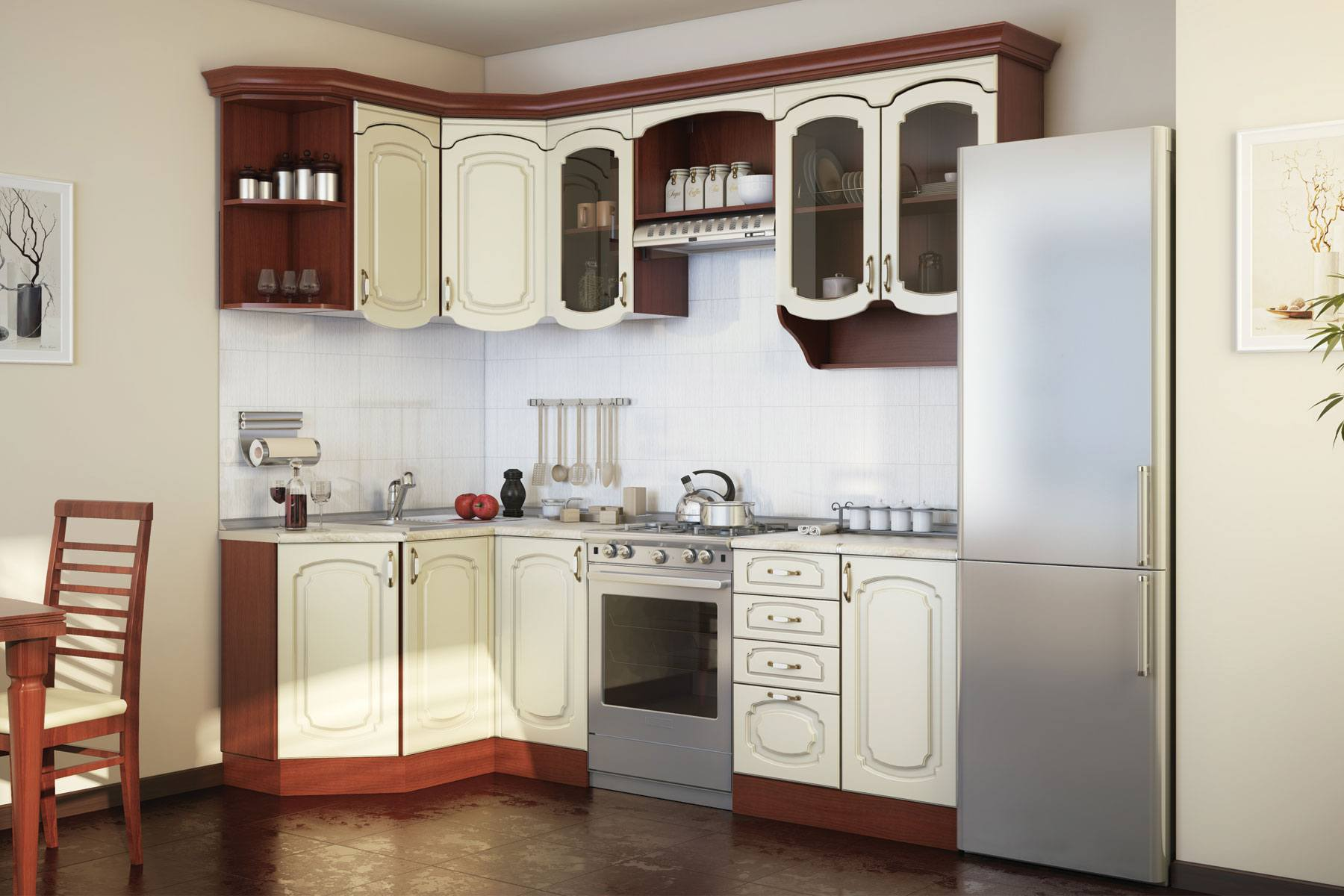 Кухня Эмилия (крем) на заказ приемыхов в витька винт и севка кухня