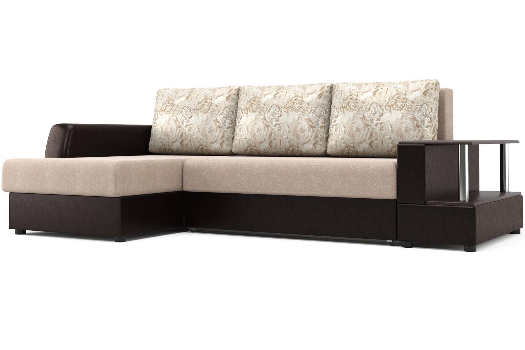 Угловой диван Франк (левый) бежево-коричневый