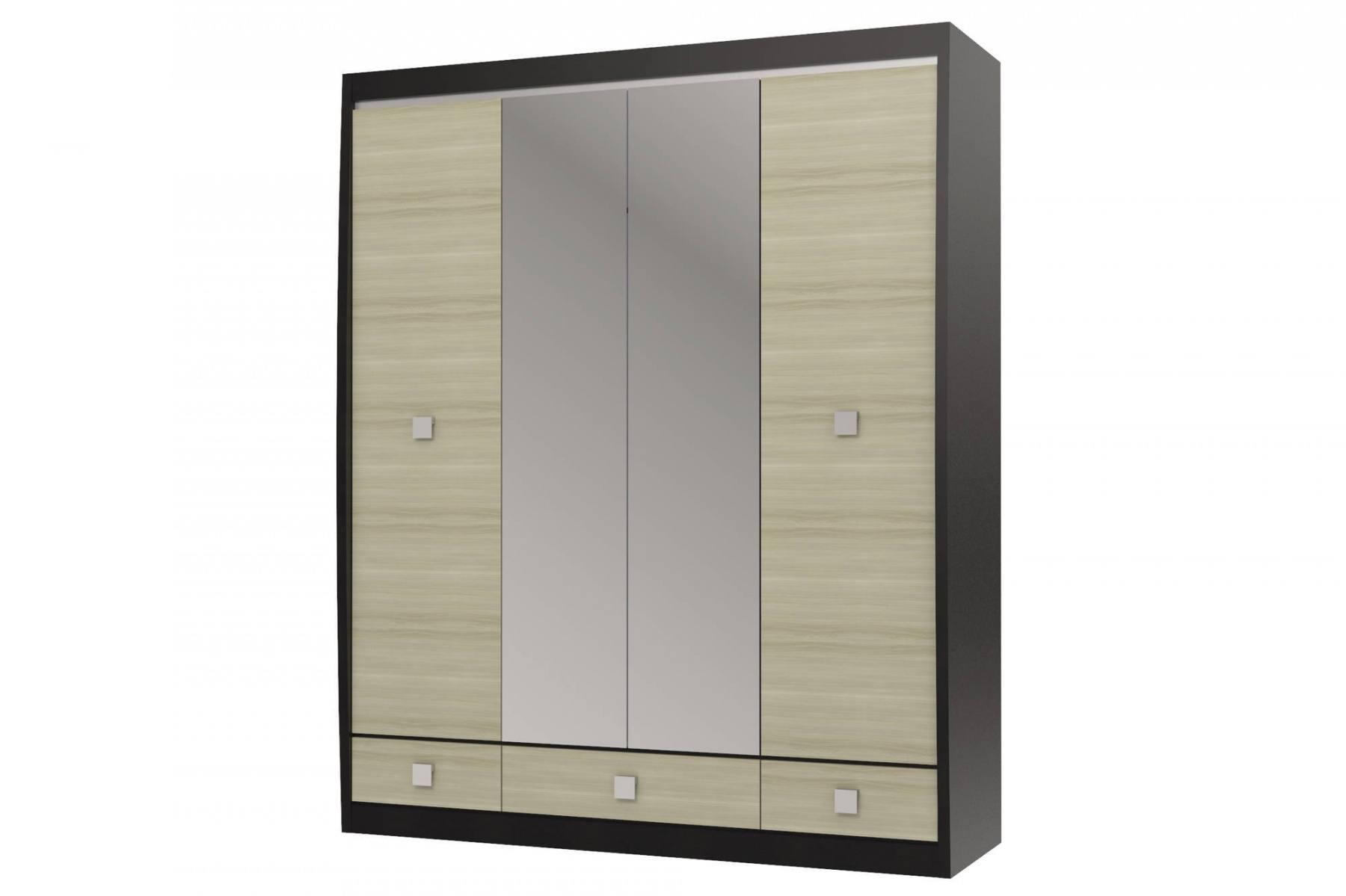 цена на Шкаф с зеркалом 4-х дверный с 3-мя ящиками Ксено СТЛ.078.19